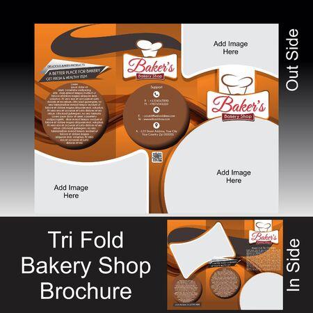 illustation: Tri Fold Bakery Shop Brochure Vector illustation  Illustration