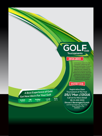 tournament: Golf Flyer Template Vector illustration
