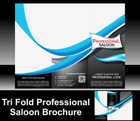 hair cover: Tri Fold Professional Saloon Brochure Vector illustration