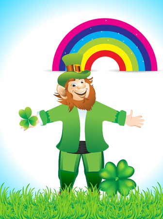 Leprechaun Cartoon With Clove Vector illustration  Vector