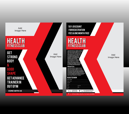 fitness center: fitness Flyer Template Vector illustration