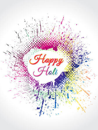 thali: happy holi Background with grunge vector illustration  Illustration