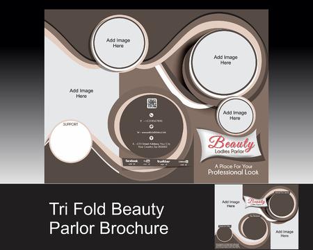 bangs: tri fold parlor brochure Vector illustration  Illustration