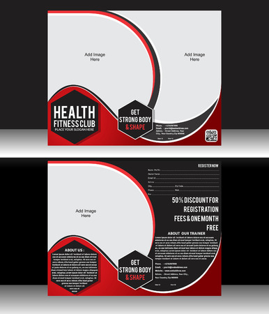 health and fitness: Health Fitness Flyer Template Vector illustration