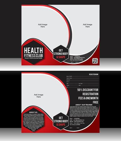 Health Fitness Flyer Template Vector illustration