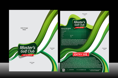 Wave Golf Flyer Template  Vector Illustration  Vector