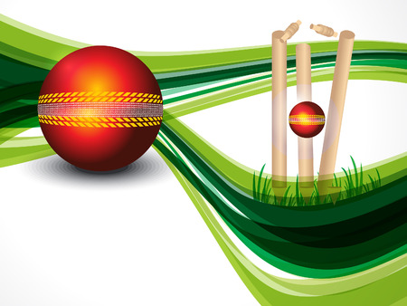 cricket ball: Cricket Background With Wave Vector illustration  Illustration