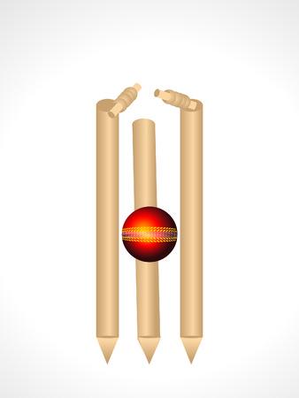 wicket: Cricket Stumps & Ball Vector illustration