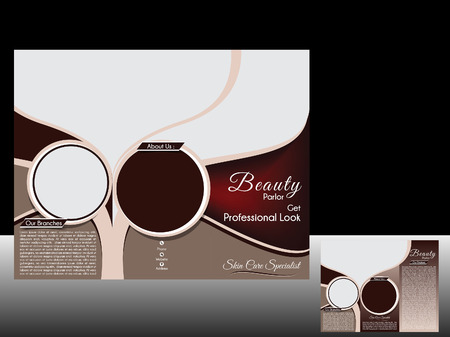 tri fold Beauty parlor Brochure Vetor illustration  Vector