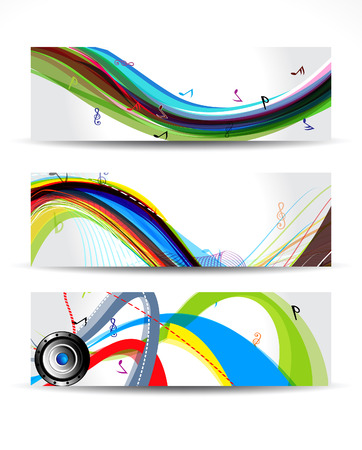music banner: Colorful Musical Wave Banner Vector illustration