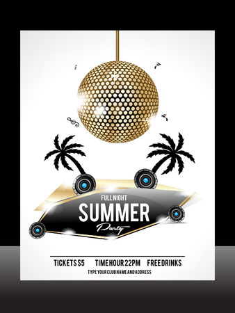summer Party Flyer Template vector illustration