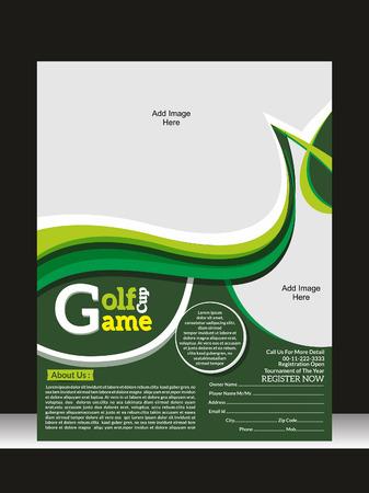 torneio: Golf Jogo Flyer Template Ilustra��o Ilustra��o