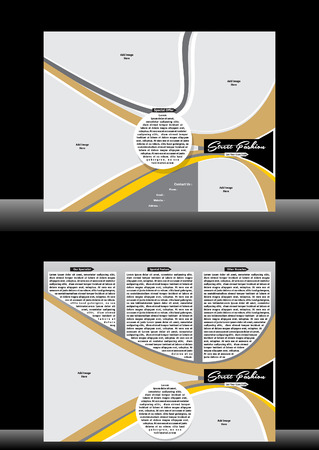 Tri Fold Fashion Street Brochure Vector illustration  Vector