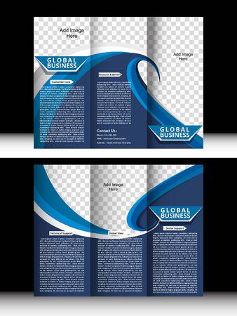 Tri Fold Global Business Brochure vector illustration  Illustration