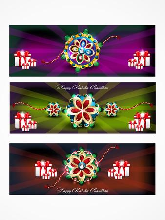 raksha: Raksha bandhan web banner illustrazione vettoriale sfondo