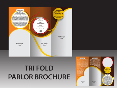 parlor: TRI FOLD PARLOR BROCHURE VECTOR ILLUSTRATION  Illustration