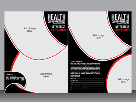 fitness center: gym designer flyer template vector illustration