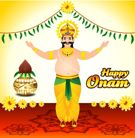 onam: Happy onam background with King mahabali