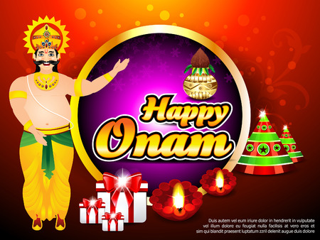 pookolam: Onam Background With King Mahabali vector illustration