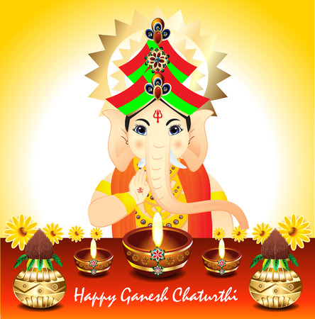 deepak: Abstract Ganesh Chaturthi Background vector illustration    Illustration