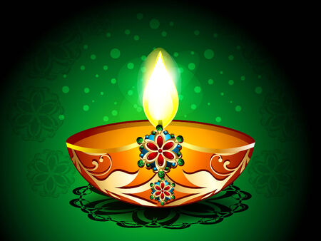 deepak: Diwali Background with artistic deepak vector illustration