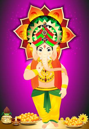 Diwali Festival Background With Ganesh g  Vector