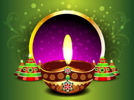 deepak: Green Diwali Background  Illustration