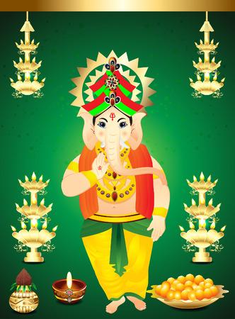 deepak: diwali Background with ganesha god illustration