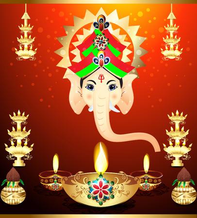 indian culture tradition: diwali Festival Background with ganesha god illustration