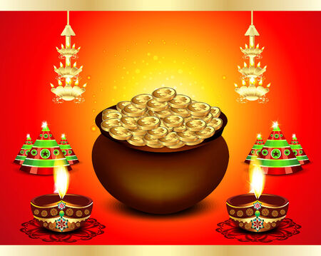 deepak: diwali Festival Background with money illustration