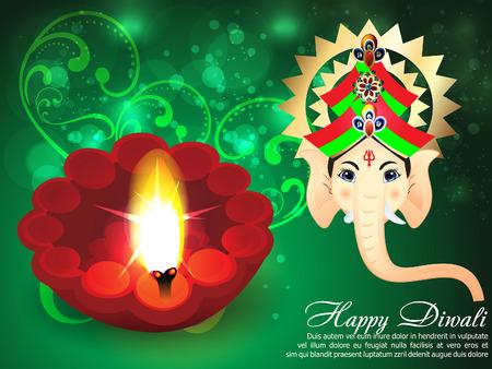 Deepawali Background with ganesha g Vector
