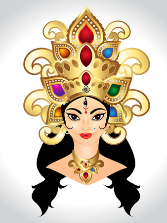 3d om: abstract godess durga vector illustration Illustration