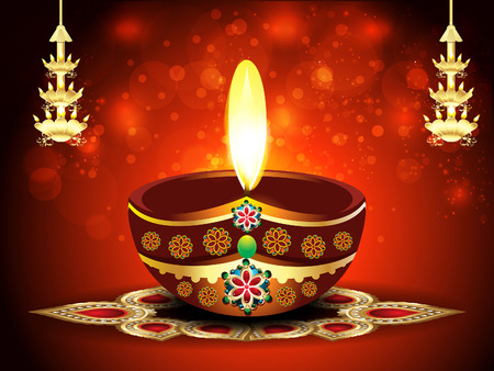 deepak: happy diwali background with deepak vector illustration  Illustration