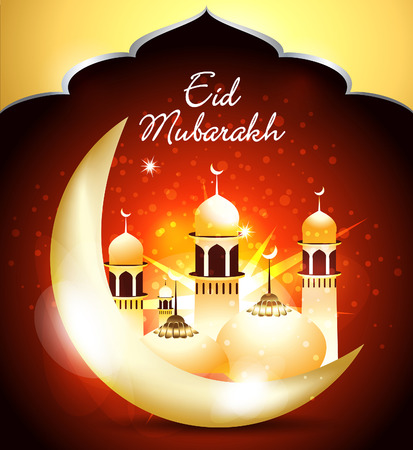 ramzan: happy eid background with mosque vector illustration