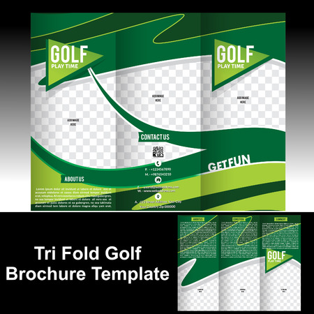 Tri Fold Golf Brochure Template vector illustration Vector