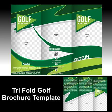 Tri Fold Golf Brochure Template Vector Illustration Royalty Free