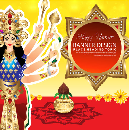 mahishasura: Happy Navratri Background vector illustration