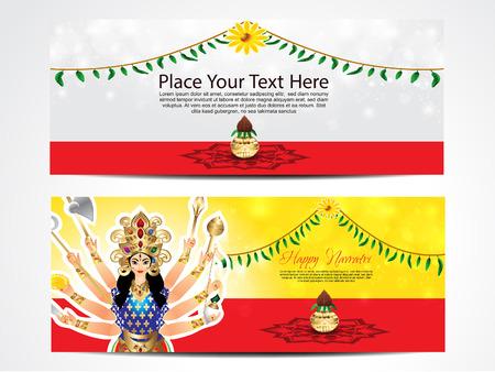 navratri: happy navratri web banner vector illustration