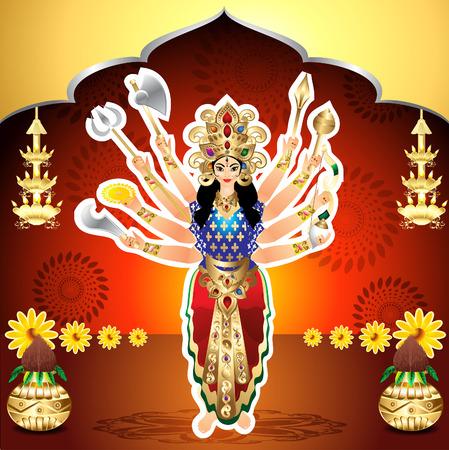 mahishasura: Shubh Navratri Background vector illusration