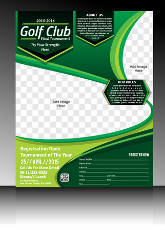 golf flyer template illustration Vectores