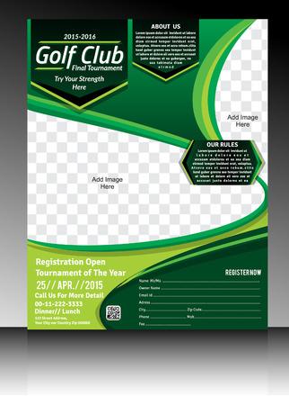 golf flyer template illustration Vettoriali