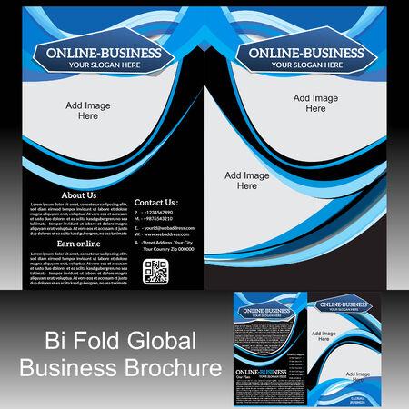 Bi Fold Global Brochure illustration Vector