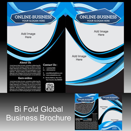 Bi Fold Global Brochure illustration Vector
