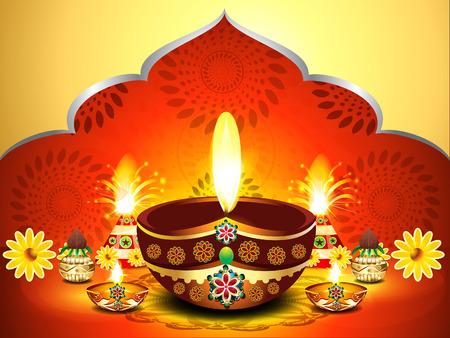 deepak: vector illustration of  diwali background