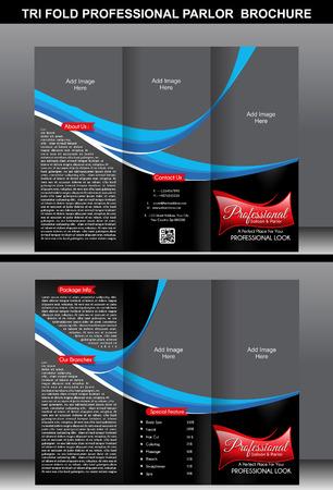 Tri Fold Professional Parlor Brochure vector illustration Vector