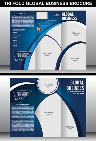 flayer: Tri Fold Global Business Brochure Template vector illustration Illustration