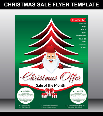 christmas Sale flyer Template Vector illustration Vector