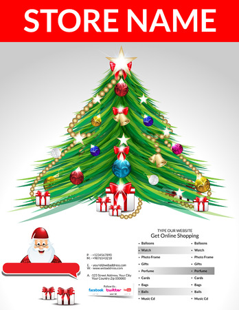 new year tree: Christmas Flyer Template Vector illustration