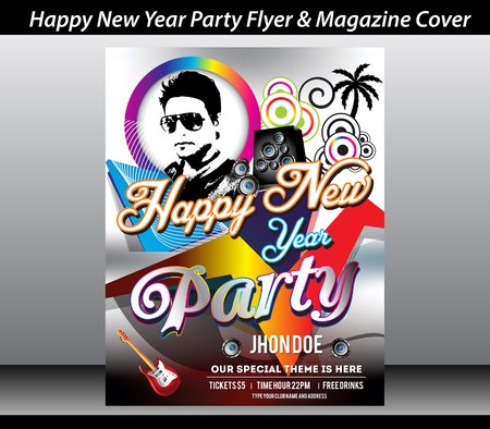 tree disc: happy new year party flyer template vector illustration
