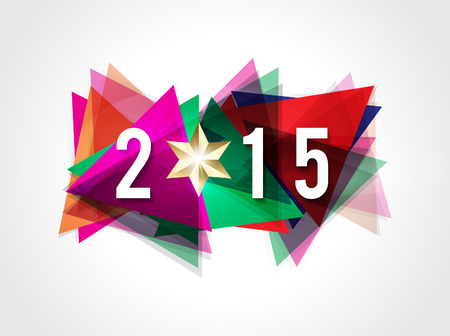 1 january: happy new year 2015 text background vector illustration